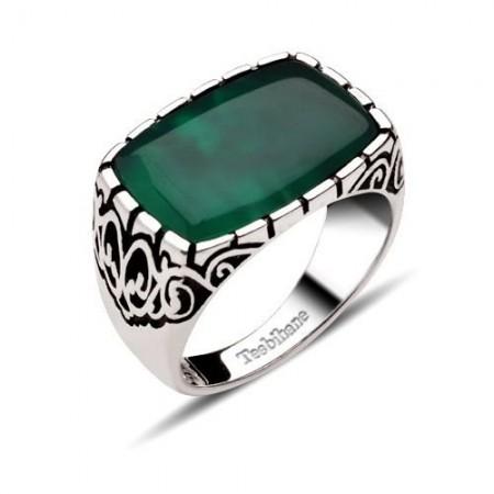 Tesbihane - Dekoratif Model Yeşil Akik Taşlı Gümüş Yüzük