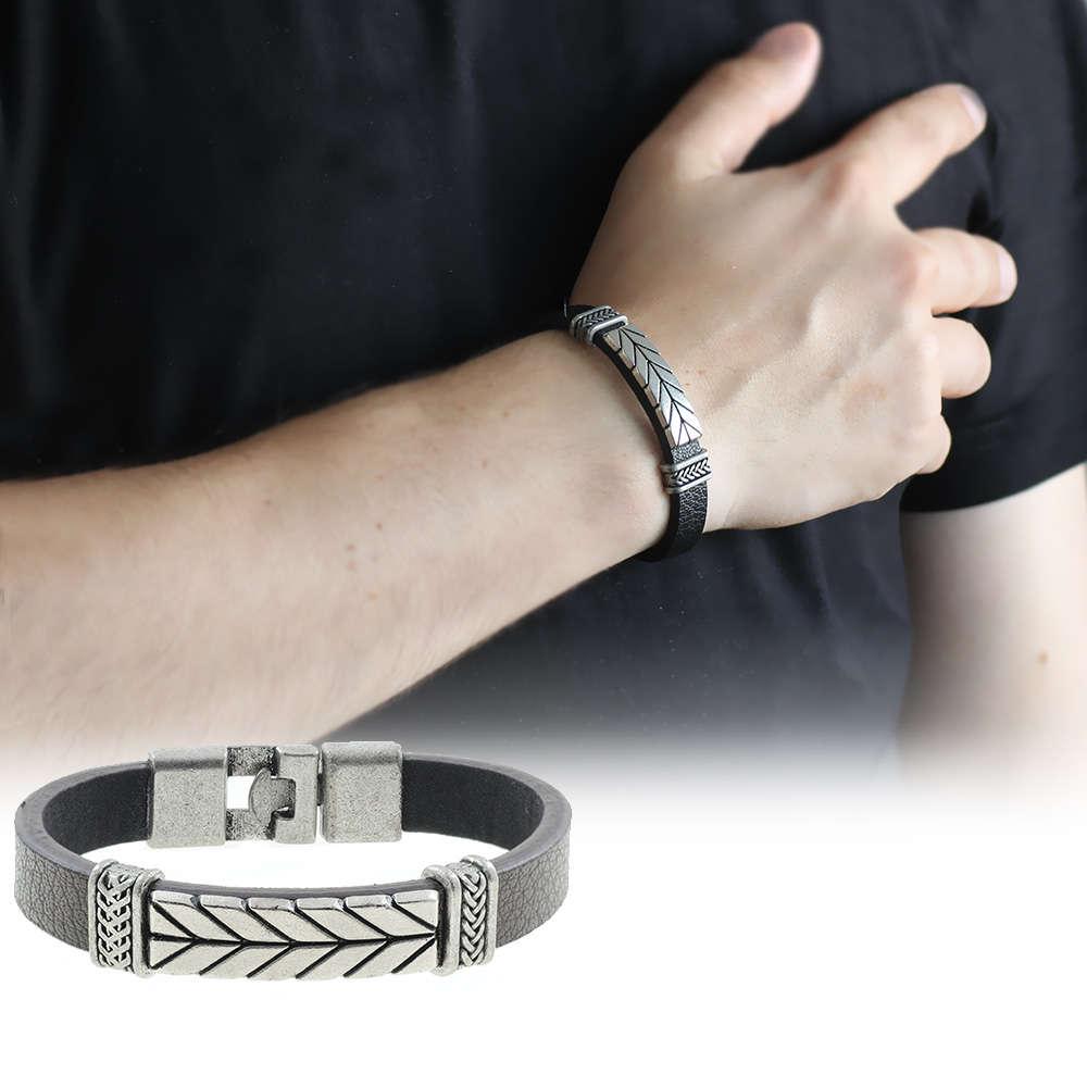 Ok Tasarım Siyah Kararmaz Metal-Deri Kombinli Erkek Bileklik