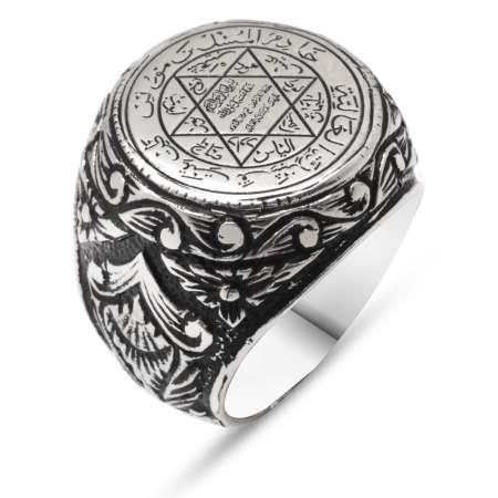 Tesbihane - Desenli Süleyman Mühür Motifli 925 Ayar Gümüş Erkek Yüzük