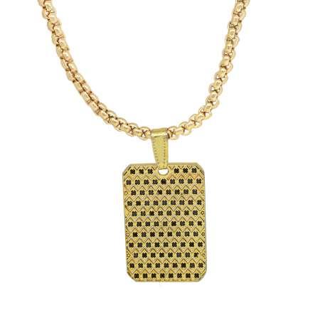 Tesbihane - Dikdörtgen Tasarım Siyah Zirkon Taşlı Gold Renk Zincir Pirinç Kolye
