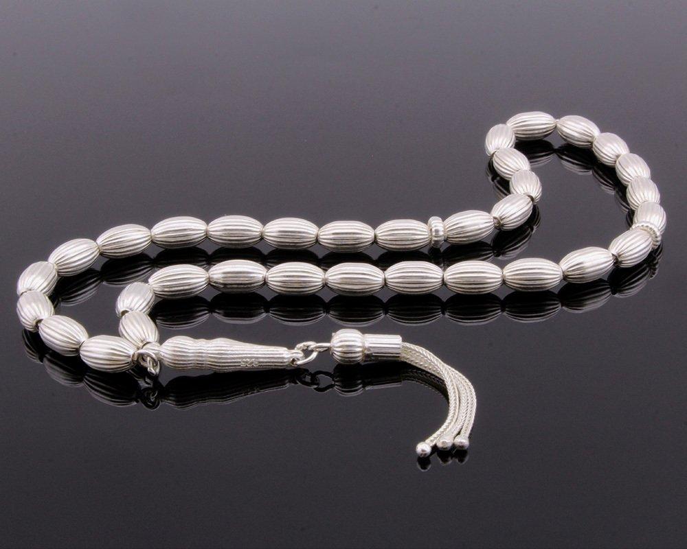 Kalem İşçilikli Arpa Kesim 925 Ayar Gümüş Tesbih (M-2)