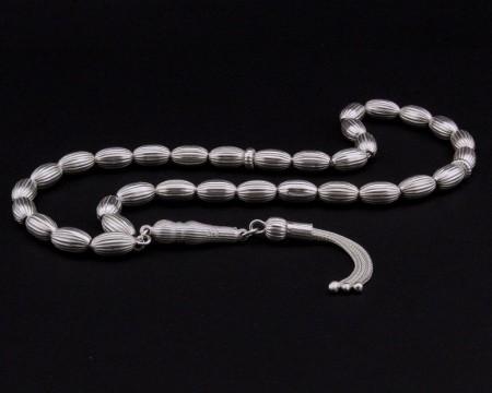 Dilimli Arpa Kesim 925 Ayar Gümüş Tesbih - Thumbnail