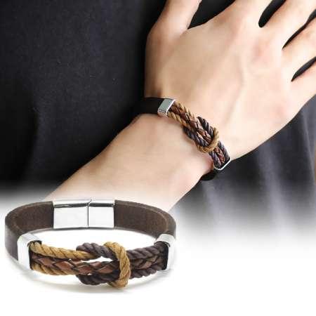 Tesbihane - Düğüm Tasarım Kahverengi Deri-Çelik Kombinli Erkek Bileklik