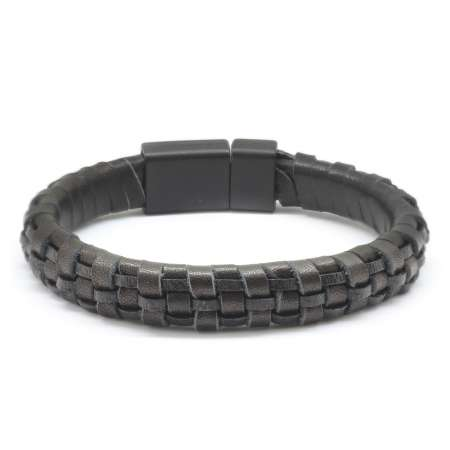 Tesbihane - Düz Örgü Tasarım Siyah Deri-Çelik Kombinli Erkek Bileklik