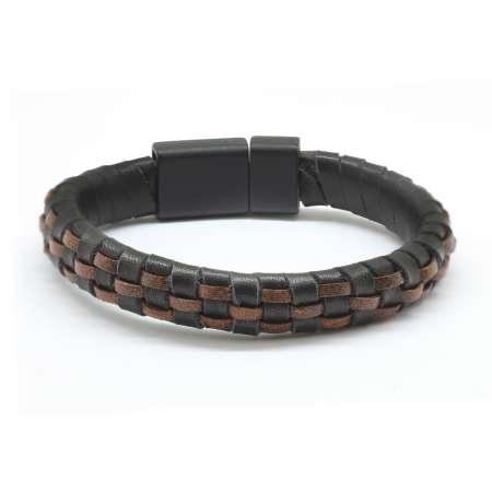 Tesbihane - Düz Örgü Tasarım Siyah-Kahverengi Deri-Çelik Kombinli Erkek Bileklik