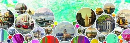 Tesbihane - Ebru Sanatı-İstanbul Temalı Kanvas Tablo