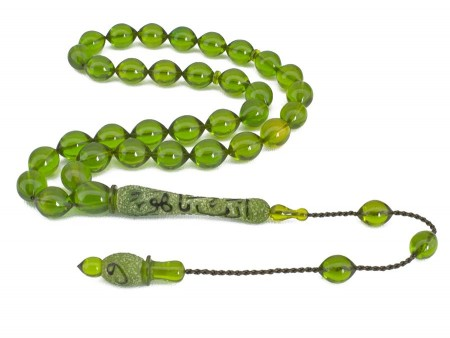 - Edeb Ya Hu Yazılı Yeşil Renk Sıkma Kehribar Tesbih