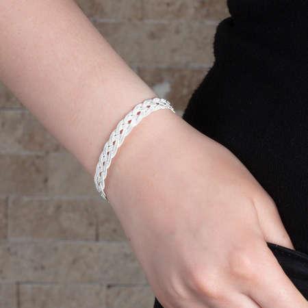 Tesbihane - El İşçiliği Gümüş Renk 1000 Ayar Kazaz Bayan Bileklik