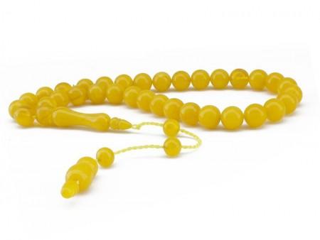 - El İşçiliği Küre Kesim Sarı Sıkma Kehribar Tesbih