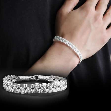 Tesbihane - El İşçiliği Gümüş Renk 1000 Ayar Gümüş Kazaz Bileklik