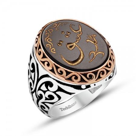 - El Yazması Aşk Yazılı Özel Tasarım Oniks Taşlı Gümüş Yüzük