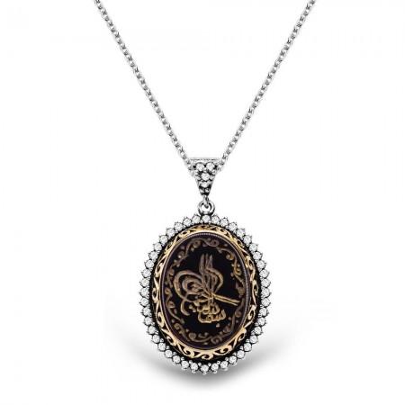 - 925 Ayar Gümüş Siyah Akik Taşlı Kişiye Özel Arapça El Yazılı Kolye
