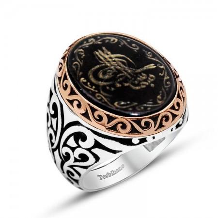 - El Yazması Tuğralı Özel Tasarım Oniks Taşlı Gümüş Yüzük