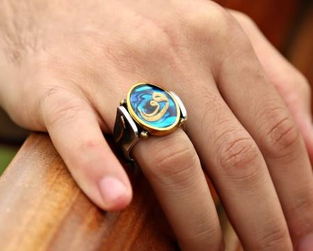 Tesbihane - Elif Harfli Okyanus Sedefi Üzerine Altın Varaklı Vav Harfi Gümüş Yüzük