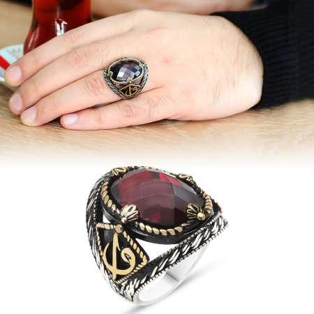 Tesbihane - Elif Vav İşlemeli Kırmızı Oniks Taşlı 925 Ayar Gümüş Erkek Yüzük