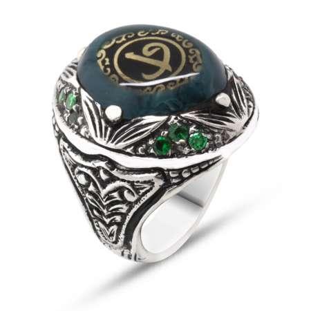 Tesbihane - Elif Vav Yazılı Yeşil Sıkma Kehribar Taşlı 925 Ayar Gümüş Erkek Yüzük