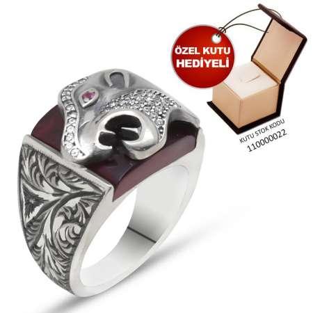 Tesbihane - Erzurum El İşçiliği Kaplan Motifli Kırmızı Sıkma Kehribar Taşlı 925 Ayar Gümüş Erkek Yüzük