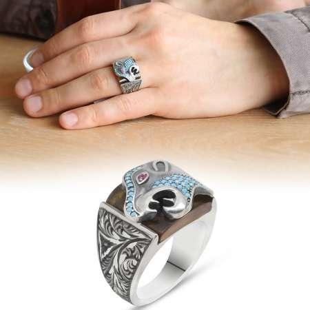 Tesbihane - Erzurum El İşçiliği Kaplan Motifli SarıSıkma Kehribar Taşlı 925 Ayar Gümüş Yüzük