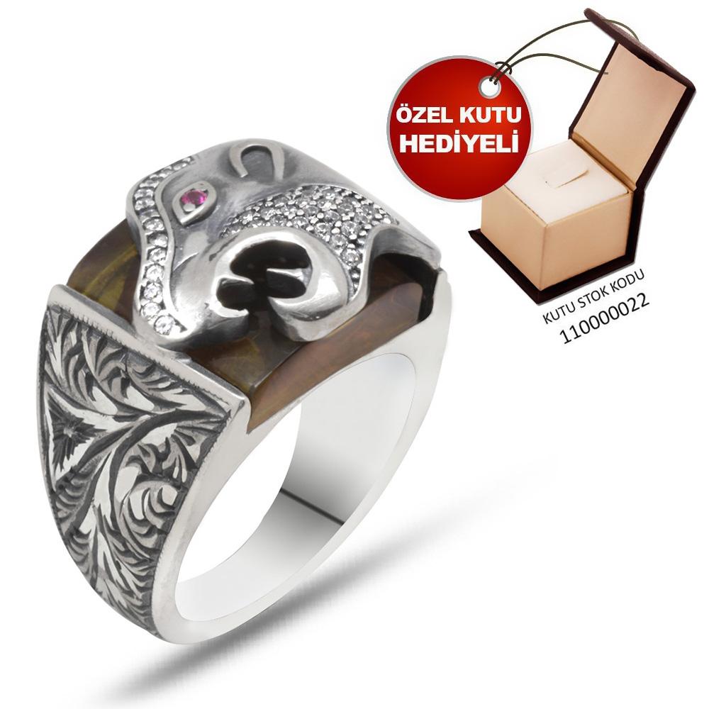 Erzurum El İşçiliği Kaplan Motifli Sıkma Kehribar Taşlı 925 Ayar Gümüş Erkek Yüzük