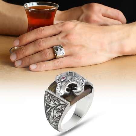 Erzurum El İşçiliği Kaplan Motifli Sıkma Kehribar Taşlı 925 Ayar Gümüş Erkek Yüzük - Thumbnail