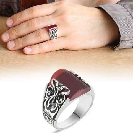 Tesbihane - Erzurum El İşçiliği Küçük Koyu Kırmızı Sıkma Kehribar Taşlı 925 Ayar Gümüş Yüzük