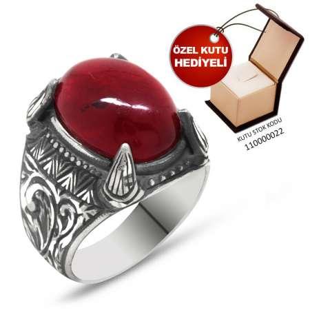 Tesbihane - Erzurum El İşçiliği Pençe Tasarım Kırmızı Sıkma Kehribar Taşlı 925 Ayar Gümüş Erkek Yüzük