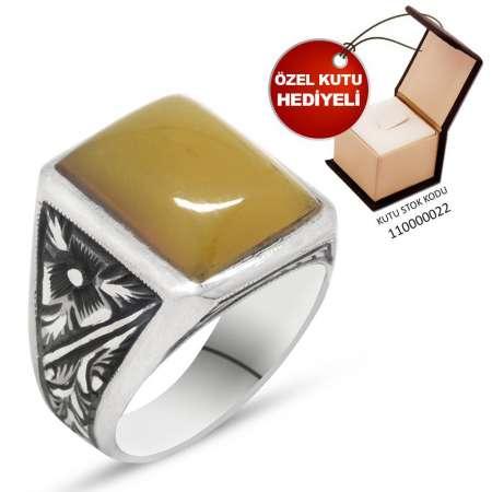 Tesbihane - Erzurum El İşçiliği Sarı Sıkma Kehribar Taşlı 925 Ayar Gümüş Erkek Yüzük