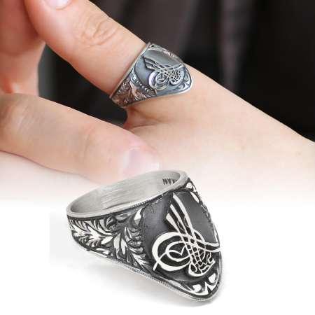 Tesbihane - Erzurum El İşçiliği Tuğra Motifli 925 Ayar Gümüş Okçu (Zihgir) Yüzüğü