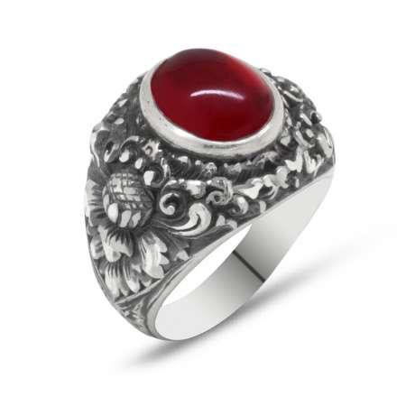Erzurum El İşçiliği Yuvarlak Kırmızı Sıkma Kehribar Taşlı 925 Ayar Gümüş Erkek Yüzük - Thumbnail