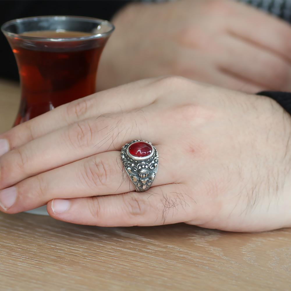 Erzurum El İşçiliği Yuvarlak Kırmızı Sıkma Kehribar Taşlı 925 Ayar Gümüş Erkek Yüzük