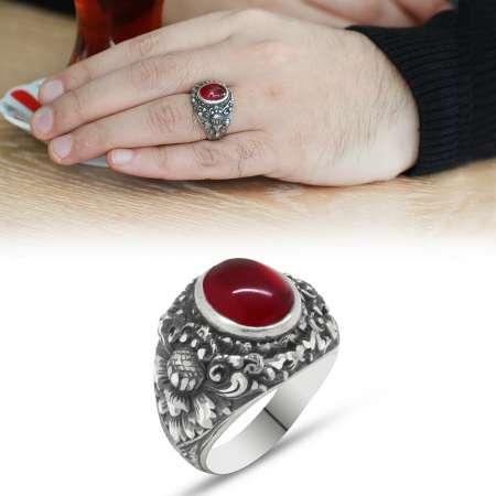 Tesbihane - Erzurum El İşçiliği Yuvarlak Kırmızı Sıkma Kehribar Taşlı 925 Ayar Gümüş Yüzük