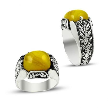 Tesbihane - Erzurum El İşi 925 Sarı Sıkma Kehribarlı Gümüş Yüzük