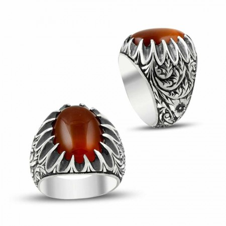 - Erzurum El İşi Akik Taşlı 925 Ayar Gümüş Yüzük