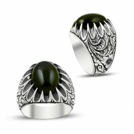Tesbihane - Erzurum El İşi Ateş Kehribarlı 925 Ayar Gümüş Yüzük