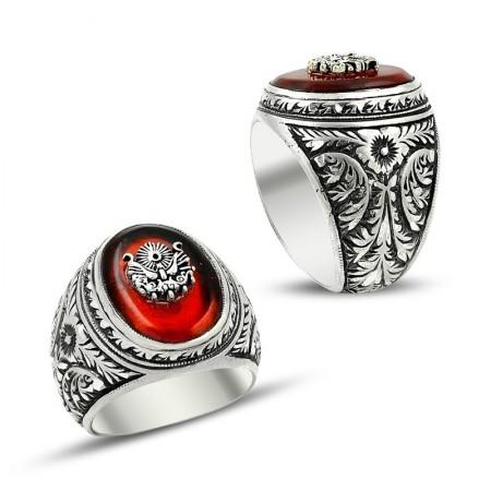 Tesbihane - Erzurum El İşi Ateş Kehribarlı Gümüş Yüzük