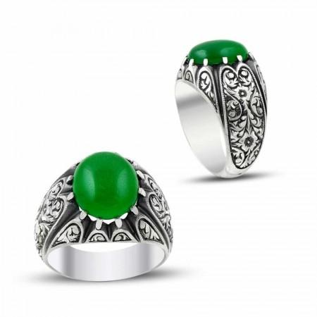 Tesbihane - Erzurum El İşi Ceyt Doğaltaşlı Gümüş Yüzük