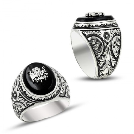 Tesbihane - Erzurum El İşi Devlet Armalı Mineli Gümüş Yüzük