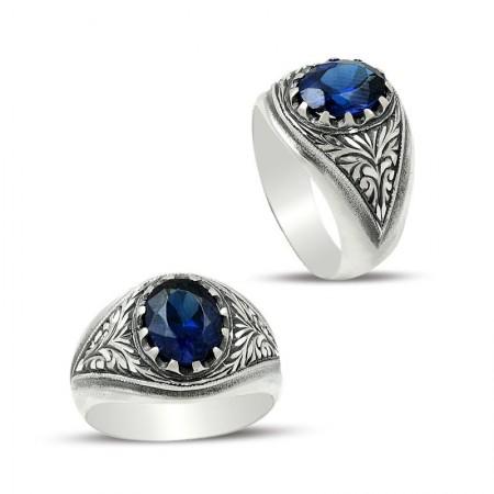 - Erzurum El İşi Gümüş Mavi Zirkon Taşlı Yüzük