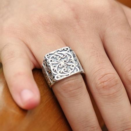 Tesbihane - Erzurum El İşi Kalem İşçilikli Gümüş Yüzük