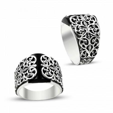 Tesbihane - Erzurum El İşi Kalem İşçilikli Mineli Gümüş Yüzük