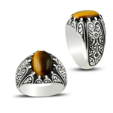 Tesbihane - Erzurum El İşi Kaplangözü Taşlı Gümüş Yüzük