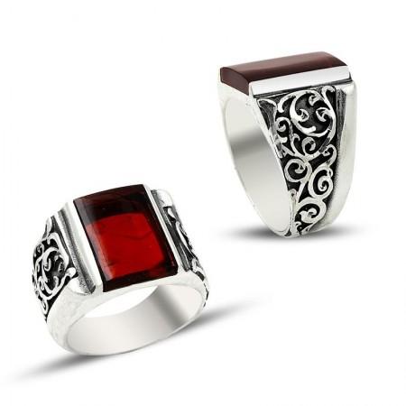 Tesbihane - Erzurum El İşi Kırmızı Ateş Kehribarlı Gümüş Yüzük