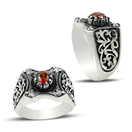 Tesbihane - Erzurum El İşi Kırmızı Zirkon Taşlı Gümüş Yüzük