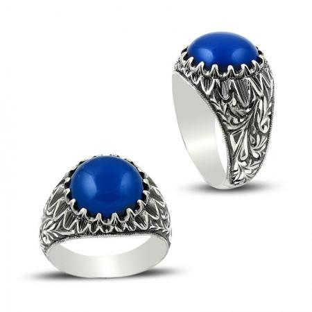 Tesbihane - Erzurum El İşi Mavi Akik Taşlı 925 Ayar Gümüş Yüzük