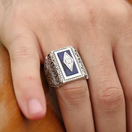 Tesbihane - Erzurum El İşi Mavi Mineli 925 Ayar Gümüş Yüzük