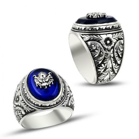 - Erzurum El İşi Mavi Mineli 925 Ayar Gümüş Yüzük