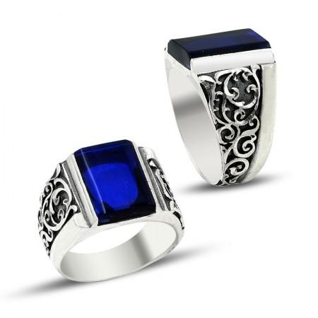 - Erzurum El İşi Mavi Mineli Gümüş Yüzük