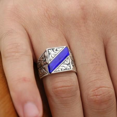 Tesbihane - Erzurum El İşi Mavi Mineli Gümüş Yüzük