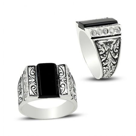 - Erzurum El İşi Mine ve Zirkon Taşlı Gümüş Yüzük