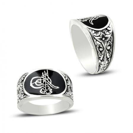 - Erzurum El İşi Mineli Gümüş Tuğra Tasarım Yüzük